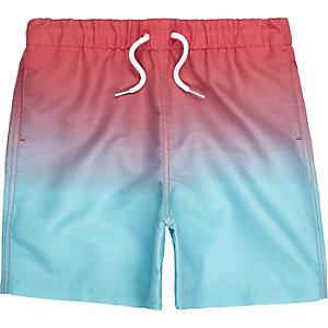 Boys red dip dye swim trunks