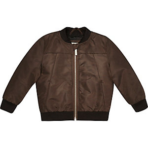 Mini boys dark brown bomber jacket