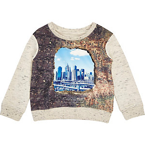 Mini boys ecru city print sweatshirt
