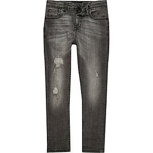 Boys grey wash distressed Sid skinny jeans