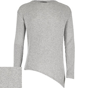 Boys grey asymmetric hem sweater