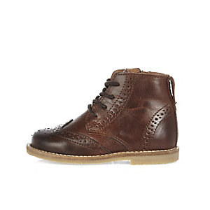 Mini boys brown lace-up boots