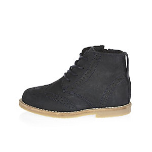 Mini boys navy smart lace-up brogue boots