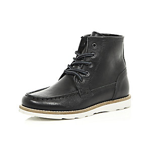 Boys black leather hiker boots