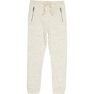 Boys ecru textured joggers