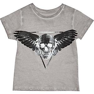 Mini boys grey skull pint t-shirt