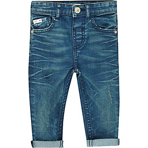 Mini boys blue turn-up skinny jeans