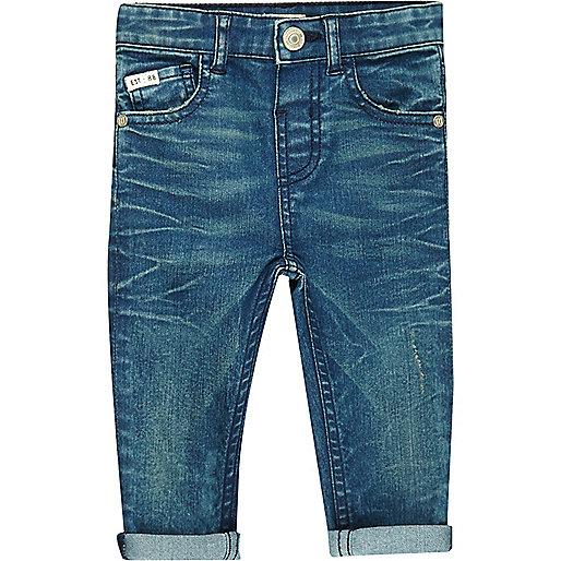 Mini boys blue turn-up skinny jeans
