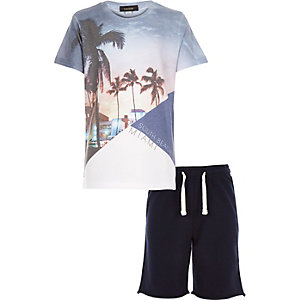 Boys white Miami print t-shirt shorts outfit