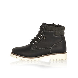 Boys black cleated sole worker boots