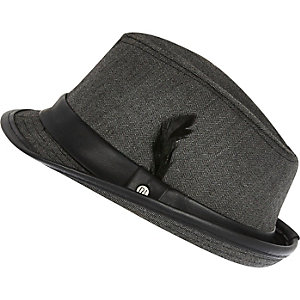 Boys dark grey herringbone trilby hat