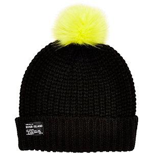 Boys black knitted pom pom hat