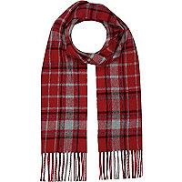 Boys red tartan scarf
