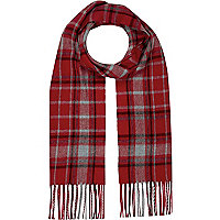 Boys red check scarf