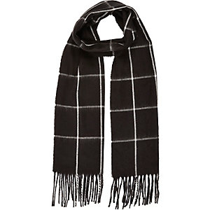 Boys black woven check scarf