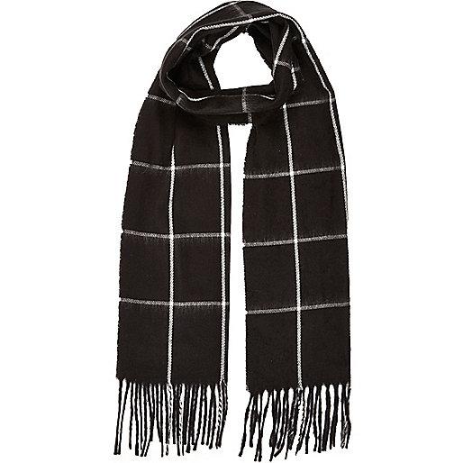 Boys black woven check scarf