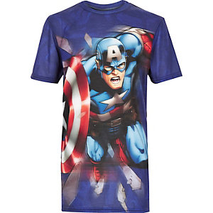 Boys blue Captain America print t-shirt