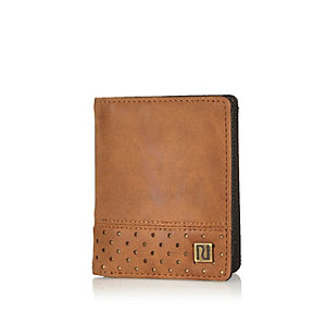 Boys brown perforated wallet