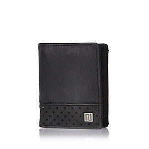 Boys black perforated wallet