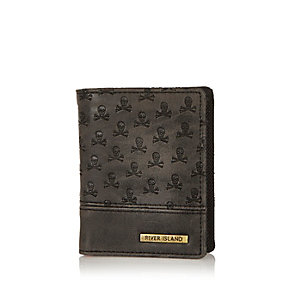 Boys black embossed skull wallet