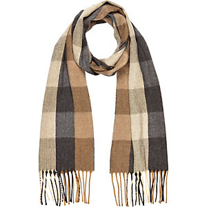 Boys brown check woven scarf