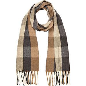 Boys brown check woven scarf
