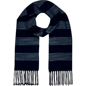 Boys dark blue stripe tassel scarf