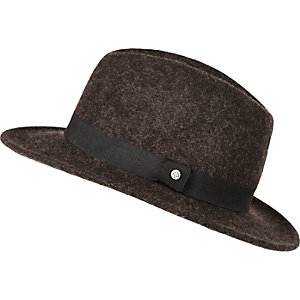 Boys dark brown fedora hat