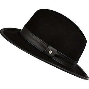 Boys black wide brim fedora hat