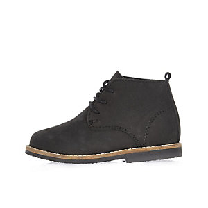 Mini boys black lace-up desert boots