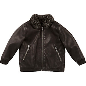 Mini boys black leather-look coach jacket