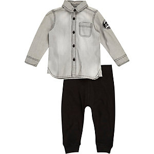 Mini boys grey shirt and joggers outfit