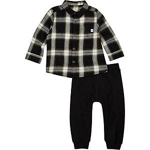 Mini boys black check shirt joggers outfit