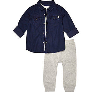Mini boys shirt tank and joggers outfit