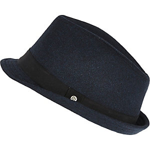 Boys blue denim trilby hat