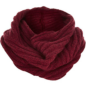 Boys dark red ribbed snood