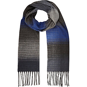 Boys grey check tasselled scarf