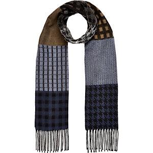 Boys khaki houndstooth woven scarf