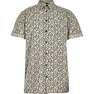 Boys ecru leopard print shirt