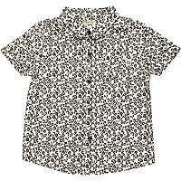 Mini boys cream leopard print shirt