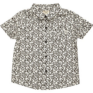 Boys cream leopard print shirt