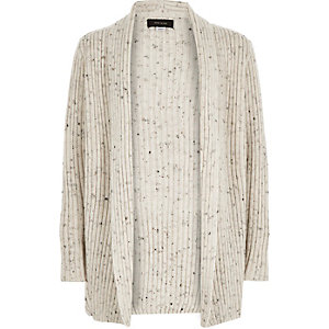 Boys ecru ribbed open cardigan