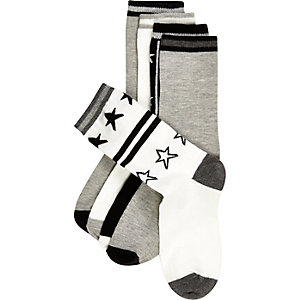 Boys white stars socks pack