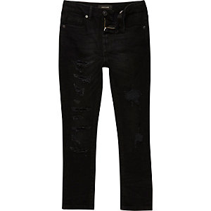 Boys black distressed Sid skinny jeans