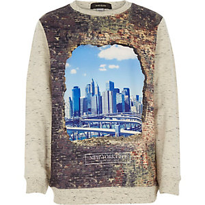 Boys ecru city print sweatshirt