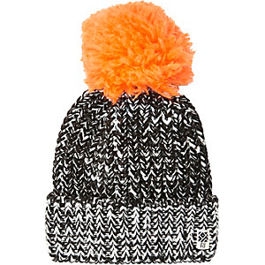 Boys black large pom pom beanie hat