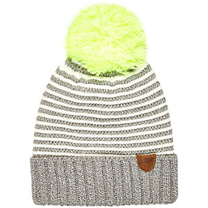 Boys grey stripe pom pom beanie hat
