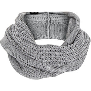 Boys grey ribbed knitted snood