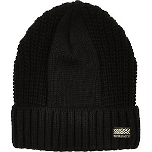 Boys black ribbed rolled up beanie hat