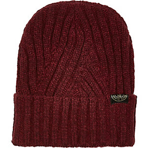 Boys red ribbed turn up beanie hat